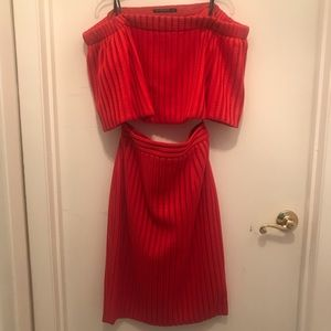 Black halo two piece red skirt and crop top